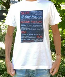 【エコ@えこ】オリジナルTシャツ(メンズ) サーファーへの【提言】ホワイト<br> Tシャツ販売開始記念、特別価格設定中! (全国どこでも送料無料)<img class='new_mark_img2' src='https://img.shop-pro.jp/img/new/icons61.gif' style='border:none;display:inline;margin:0px;padding:0px;width:auto;' />