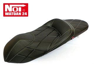 NOI WATDAN HONDA PCX125・PCX160・PCX150 ローダウン段付きシート カーボンブラック/ホワイトステッチ 期間限定!8月末まで送料無料!