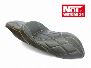 NOI WATDAN YAMAHA N-MAX125・N-MAX155 ローダウン段付きシート カーボンブラック/ホワイトステッチ 期間限定!8月末まで送料無料!