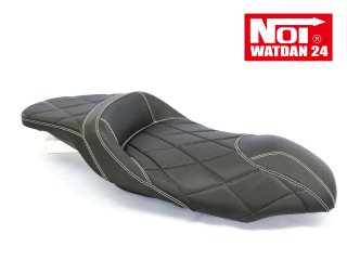 NOI WATDAN YAMAHA  AEROX155 ローダウン段付きシート カーボンブラック/ホワイトステッチ 期間限定!8月末まで送料無料!