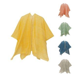 tate-S 羽織るポンチョ / 薄手で軽いリネンウール 同色ボーダー
