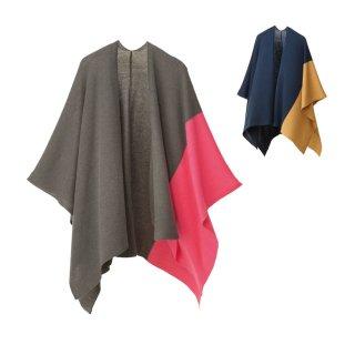 tate-L 羽織るポンチョ / ツートンカラー ウールレーヨン