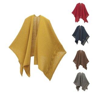 tate 羽織るポンチョ / なめらかアルパカ 大きなケーブル柄