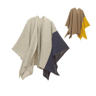 tate 羽織るポンチョ / ツートンカラー ウール100%
