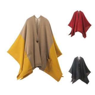 tate−L 羽織るポンチョ / 焚火に便利な難燃ニット ポケット付き