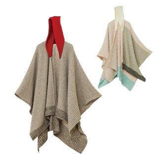tate-L 羽織るポンチョ / しっかり編んだ畦編み 取り外しできる雪ん子フード付き