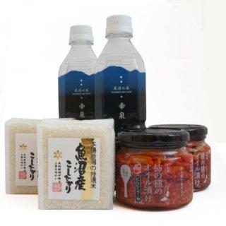 かきのたねのオイル漬けにんにくラー油を美味しく食べるセット お米と炊飯用の天然水付き