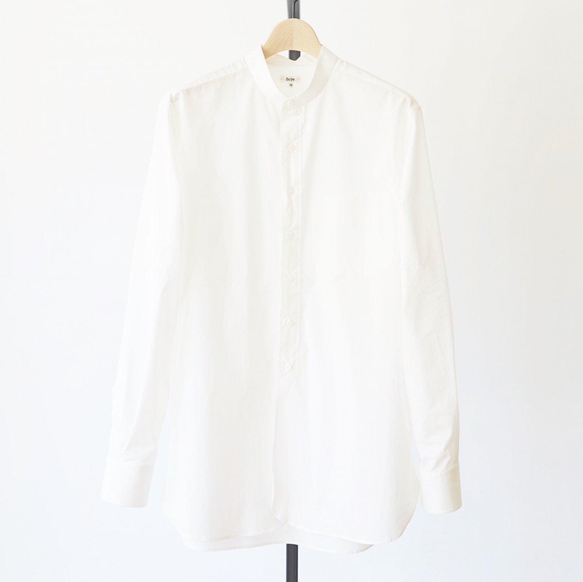 【Scye】WASHED POPLIN GRANDAD COLLAR SHIRT - OFF WHITE
