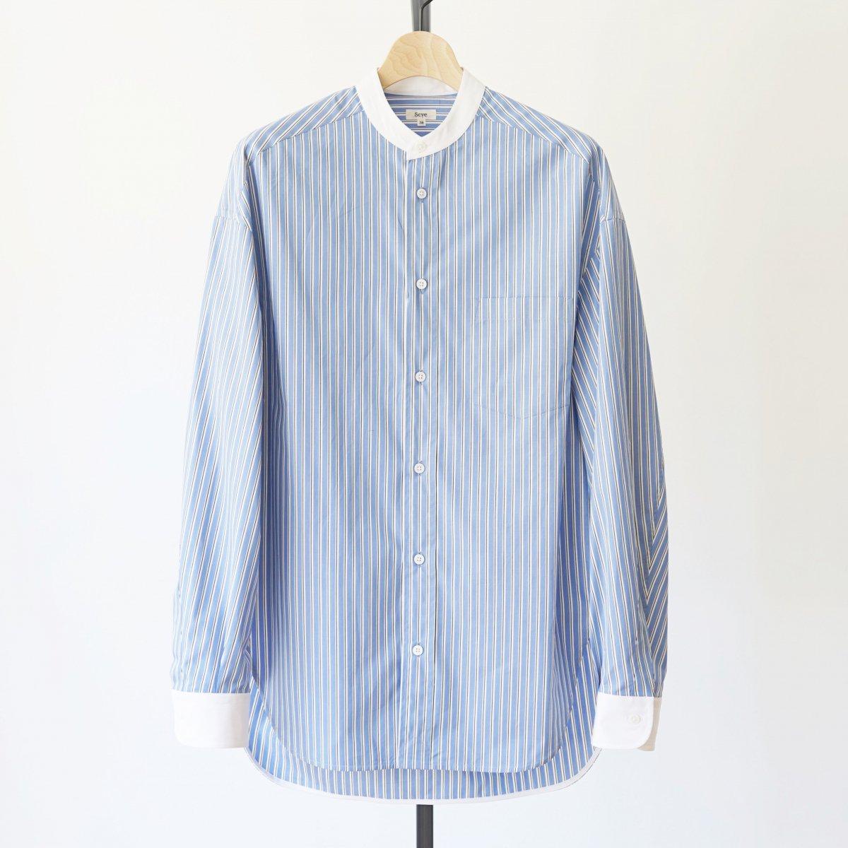 【Scye】STRIPED COTTON POPLIN BIG SHIRT - SAX BLUE