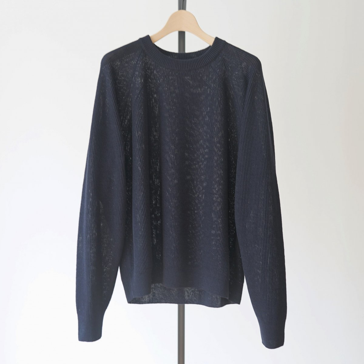 【unfil】FRENCH LINEN RIBBED-KNIT PULLOVER - NAVY