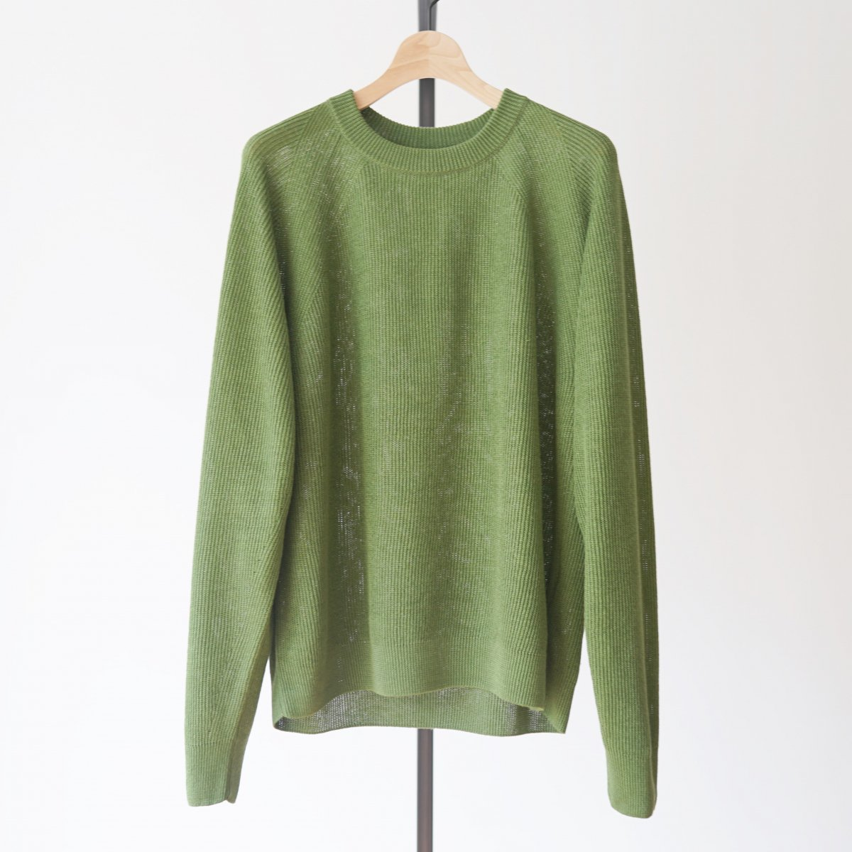 【unfil】FRENCH LINEN RIBBED-KNIT PULLOVER - GREEN