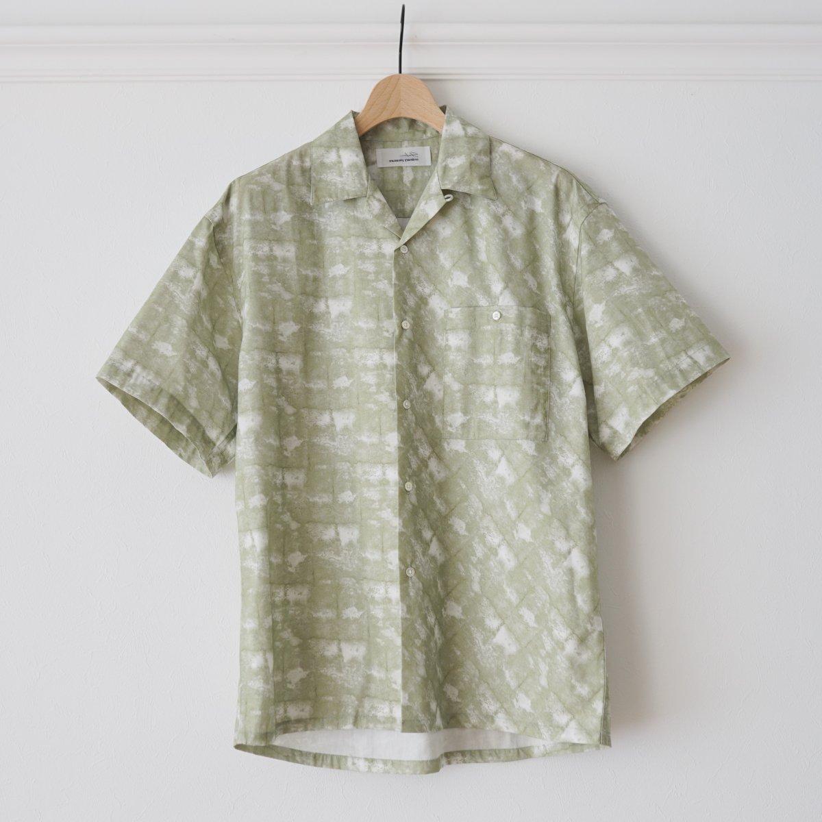 【SHEBA シーバ】OPEN COLLAR SHIRT OG - GREEN CHECK