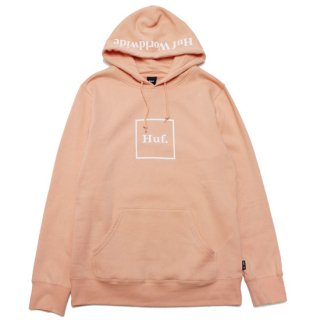 HUF ハフ ESSENTIALS BOX LOGO PULLOVER HOODIE PF00098/CORAL PINK