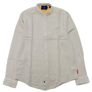 SCOTCH&SODA スコッチ&ソーダ COTTON-LINEN BLEND COLLARLESS L/S SHIRT 158439/SAND