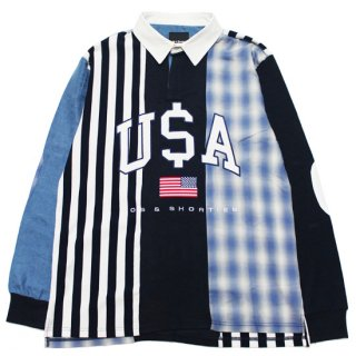 40s & SHORTIES フォーティーズアンドショーティーズ PAY OUT RUGBY L/S SHIRT/BLUE