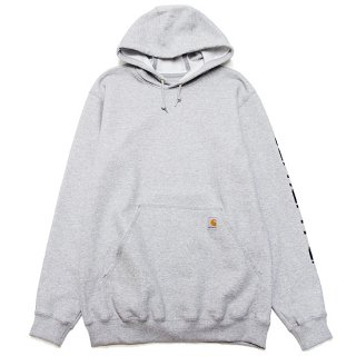 CARHARTT カーハート MIDWEIGHT SIGNATURE SLEEVE LOGO HOODED SWEAT K288/HEATHER GREY