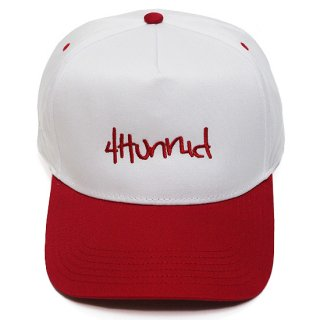 4HUNNID フォーハニッド HIT UP SNAPBACK CAP/WHITExRED