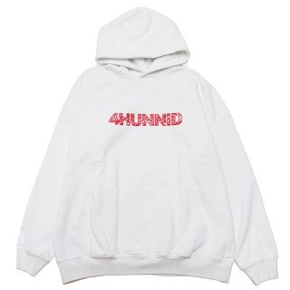 4HUNNID フォーハニッド PAISLEY HOODIE/WHITExRED