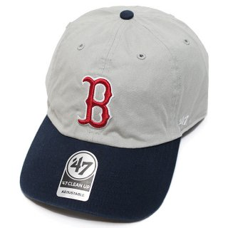 47BRAND フォーティーセブン RED SOX '47 CLEAN UP CAP/GREYxNAVY