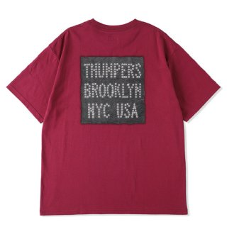 THUMPERS サンパーズ LEATHER PATCH LOGO S/S TEE/BURGUNDY