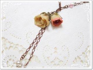 ピンク クリーム薔薇 2輪 ネックレス