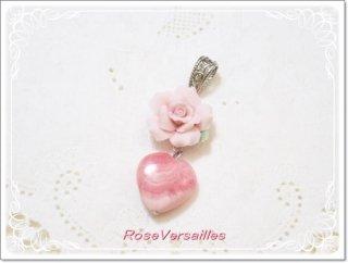 ほんわかピンク薔薇とインカローズ(ロードクロサイト)ハートのペンダントトップ