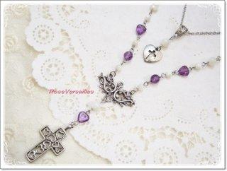 アメジストとマザーオブパールと十字架ネックレス