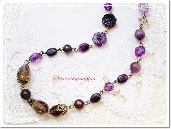 アメジストとスギライトとフローライトの高貴な紫ネックレス