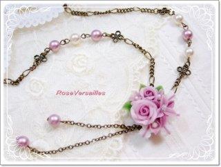 樹脂薔薇ブーケのアンティークピンクモーブのネックレス