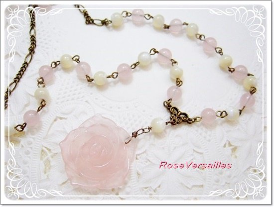 ローズクォーツ薔薇とマザーオブパールのネックレス
