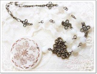 シェルとマザーオブパールのお花模様ネックレス