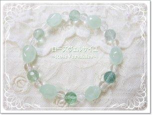 プレナイトとグリーンフローライトと水晶のブレスレット