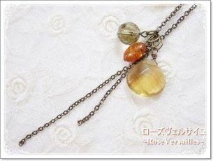 再販♪着せ替えネックレス「秋の実り」ゴールデンフローライト 琥珀アンバー レモンクォーツ チェーンパーツ