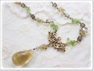 「陽だまりのエール」宝石質シトリンとペリドットとハニークォーツとスモーキークォーツのネックレス