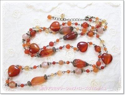 「勝利*情熱*エナジー」カーネリアン シトリン オレンジムーンストーン ハート 薔薇 ロングネックレス ラリエット・2連・ブレス