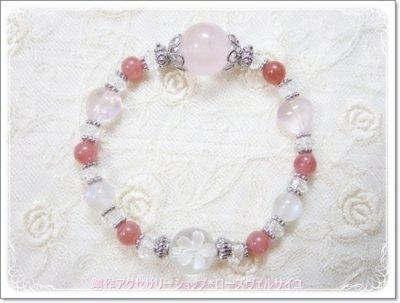 「薔薇と桜と月の女神」ローズクォーツ インカローズ ブルームーンストーン 水晶 ジュエリーブレスレット
