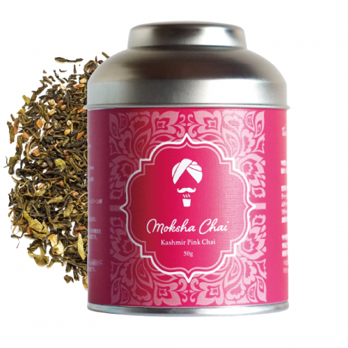 カシミールピンク 緑茶チャイ 50g 缶 25杯分 ギフト缶  ※グリーンティーチャイ ※カテキンたっぷり