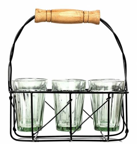 インドのチャイグラス 100ml 6個 ※フレーム付き ※インド雑貨 ※インドのチャイカップ ※Cutting Chai ※チャイワラ
