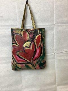 花のハンドペイントトートバッグ