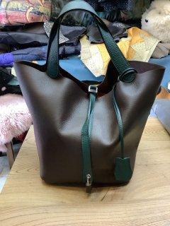 茶色xグリーン 四角底トートバッグ