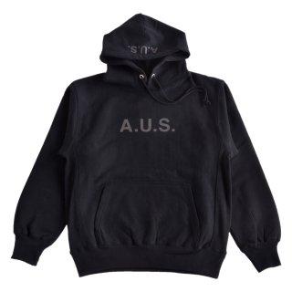 【A.U.S. M&W】スウェットプルパーカ レフロゴ1(ブラック)
