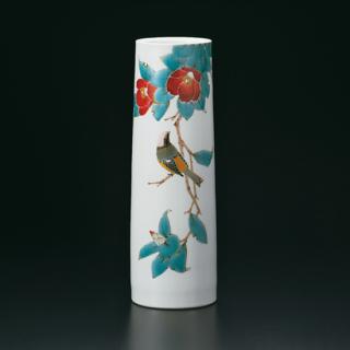 9号花瓶 椿に尉鶲  山田義明