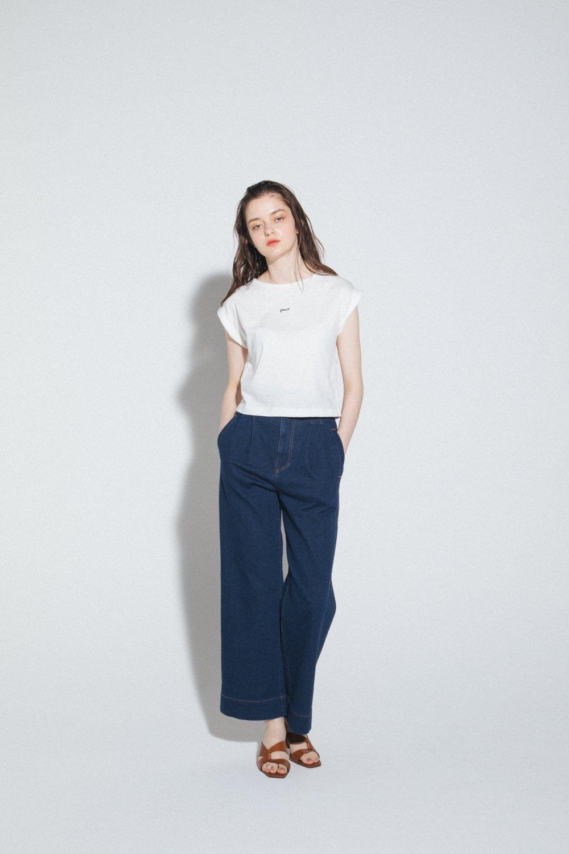 フレンチスリーブロゴ刺繍Tシャツ(ホワイト)