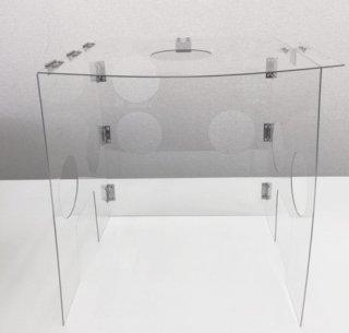 挿管防護ボックス(穴あり、パッド3枚付)