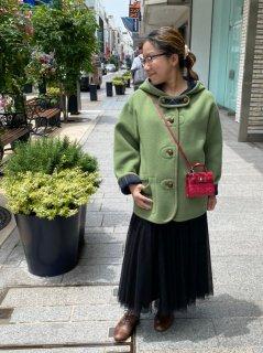 元町リバーシブルコート - グリーン<ショート丈>