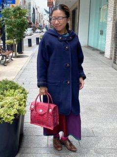 元町リバーシブルコート - ネイビー<ミディアム丈>