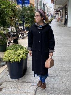 元町リバーシブルコート - ブラック<ロング丈>