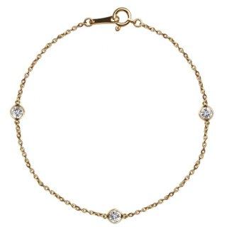 K18 3石ステーションダイヤモンド ブレスレット Bezel (ベゼル) 0.3ctの商品画像