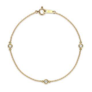 K18 3石ステーションダイヤモンド ブレスレット Petit Bezel (プティベゼル)  003 0.09ctの商品画像