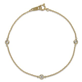 K18 3石ステーションダイヤモンド ブレスレット Petit Bezel (プティベゼル) 005 0.15ctの商品画像